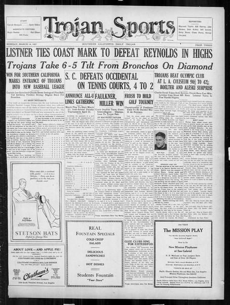 Daily Trojan, Vol. 18, No. 100, March 14, 1927