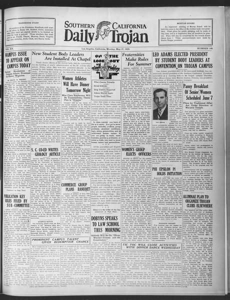 Daily Trojan, Vol. 20, No. 149, May 27, 1929