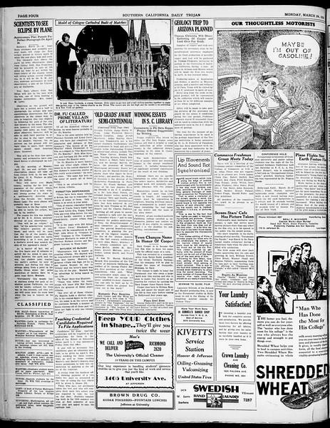 Southern California Daily Trojan, Vol. 21, No. 108, March 24, 1930