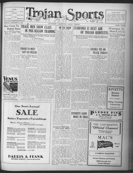 Daily Trojan, Vol. 20, No. 69, January 14, 1929