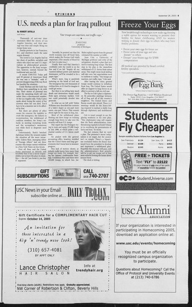 Daily Trojan, Vol. 156, No. 24, September 26, 2005