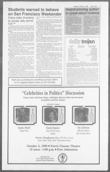 Daily Trojan, Vol. 110, No. 21, October 03, 1989