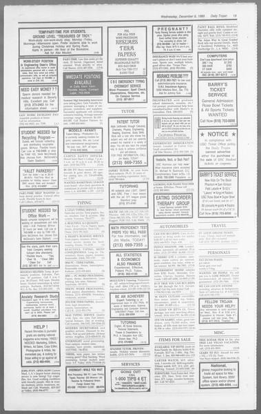 Daily Trojan, Vol. 110, No. 63, December 06, 1989