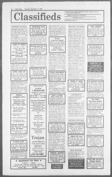 Daily Trojan, Vol. 110, No. 8, September 14, 1989