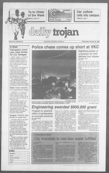 Daily Trojan, Vol. 110, No. 36, October 25, 1989