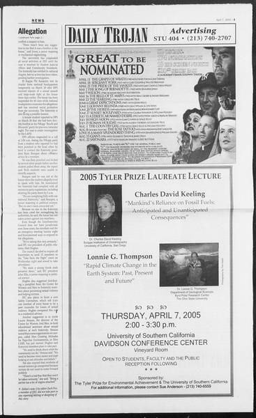 Daily Trojan, Vol. 154, No. 52, April 07, 2005