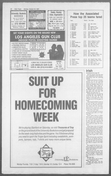 Daily Trojan, Vol. 110, No. 34, October 23, 1989