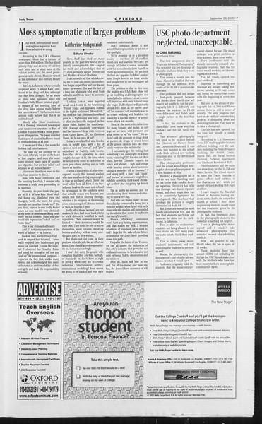 Daily Trojan, Vol. 156, No. 23, September 23, 2005