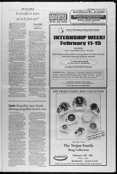 Daily Trojan, Vol. 145, No. 22, February 08, 2002