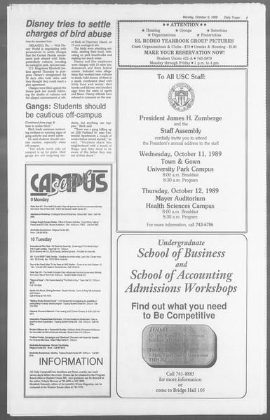 Daily Trojan, Vol. 110, No. 25, October 09, 1989