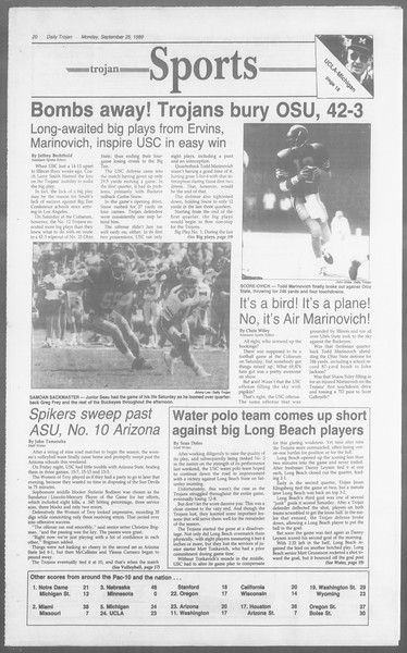 Daily Trojan, Vol. 110, No. 15, September 25, 1989