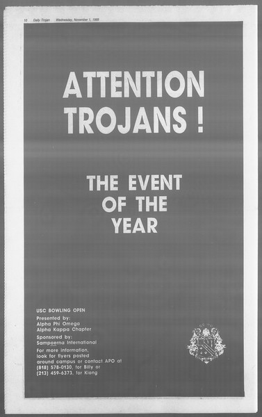 Daily Trojan, Vol. 110, No. 41, November 01, 1989