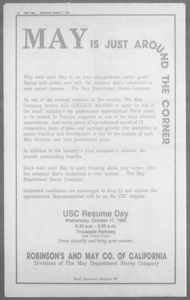 Daily Trojan, Vol. 113, No. 31, October 17, 1990