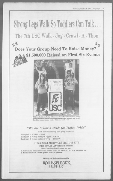Daily Trojan, Vol. 110, No. 31, October 18, 1989
