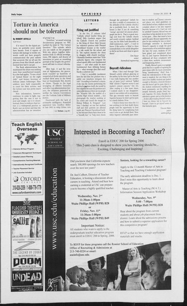 Daily Trojan, Vol. 156, No. 48, October 28, 2005