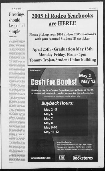 Daily Trojan, Vol. 154, No. 67, April 28, 2005