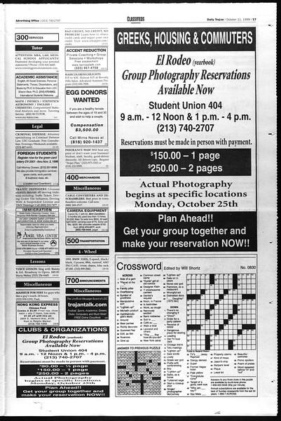Daily Trojan, Vol. 138, No. 29, October 11, 1999