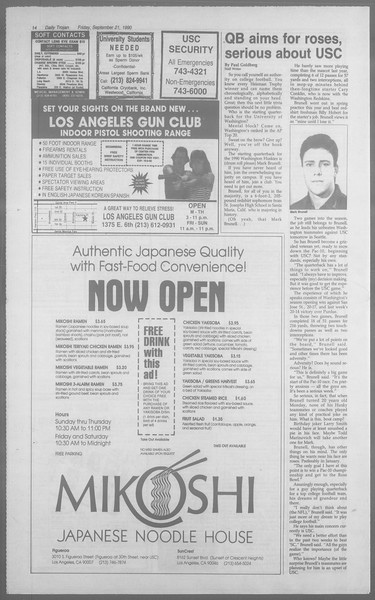 Daily Trojan, Vol. 113, No. 14, September 21, 1990
