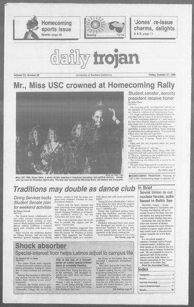 Daily Trojan, Vol. 110, No. 38, October 27, 1989