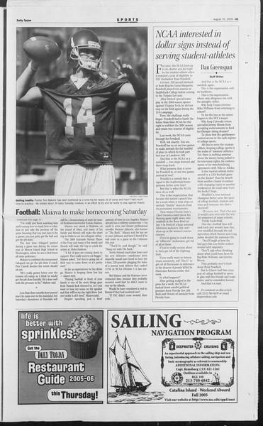 Daily Trojan, Vol. 156, No. 8, August 31, 2005