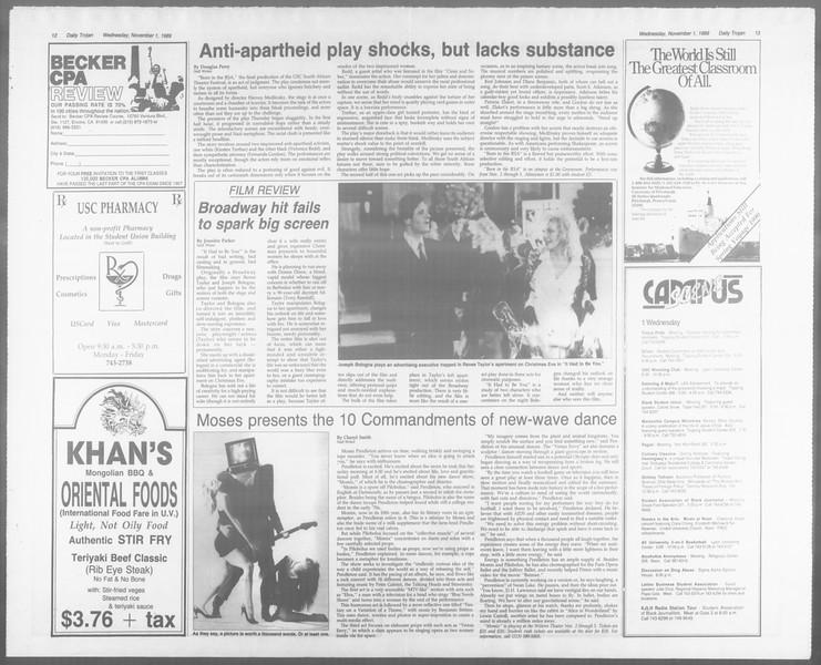 Daily Trojan, Vol. 110, No. 41, November 01, 1989