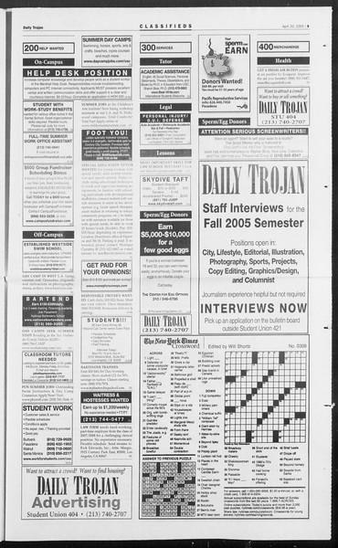 Daily Trojan, Vol. 154, No. 61, April 20, 2005
