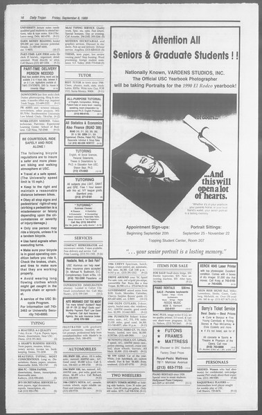 Daily Trojan, Vol. 110, No. 4, September 08, 1989