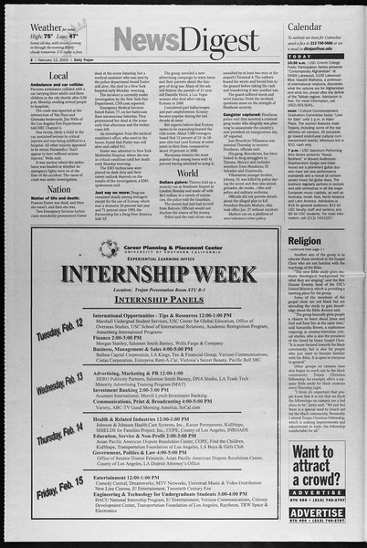 Daily Trojan, Vol. 145, No. 24, February 12, 2002
