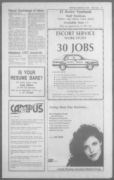Daily Trojan, Vol. 113, No. 17, September 26, 1990