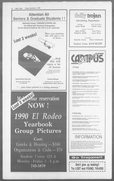 Daily Trojan, Vol. 110, No. 43, November 03, 1989