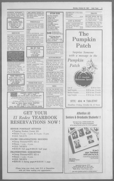 Daily Trojan, Vol. 113, No. 34, October 22, 1990