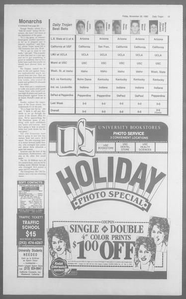 Daily Trojan, Vol. 113, No. 60, November 30, 1990