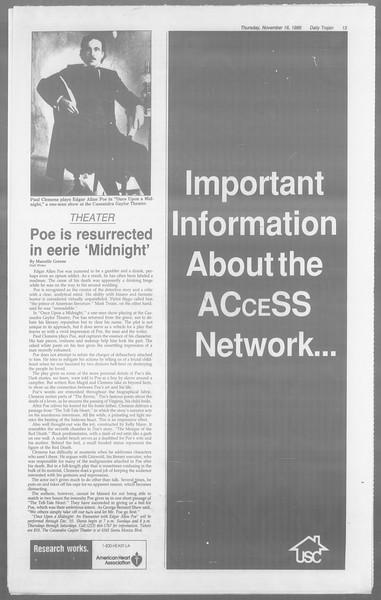Daily Trojan, Vol. 110, No. 52, November 16, 1989