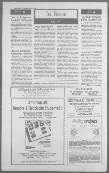 Daily Trojan, Vol. 113, No. 24, October 05, 1990