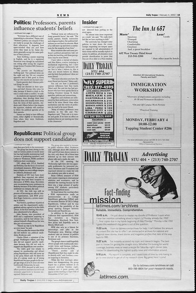 Daily Trojan, Vol. 145, No. 18, February 04, 2002