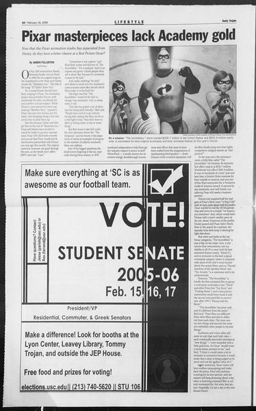 Daily Trojan, Vol. 154, No. 25, February 16, 2005
