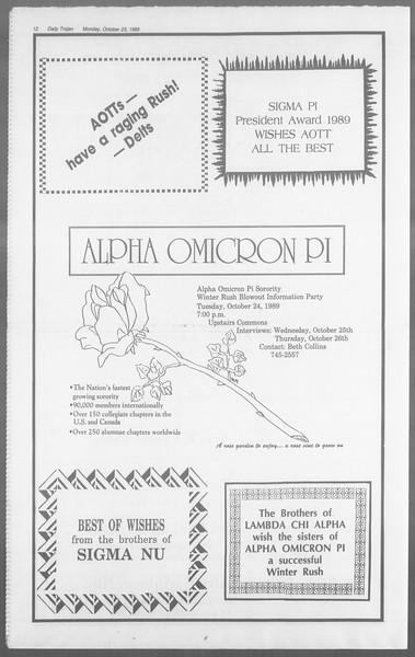 Daily Trojan, Vol. 110, No. 34, October 23, 1989