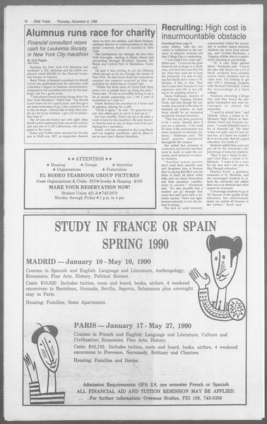 Daily Trojan, Vol. 110, No. 47, November 09, 1989