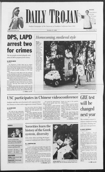 Daily Trojan, Vol. 156, No. 47, October 27, 2005