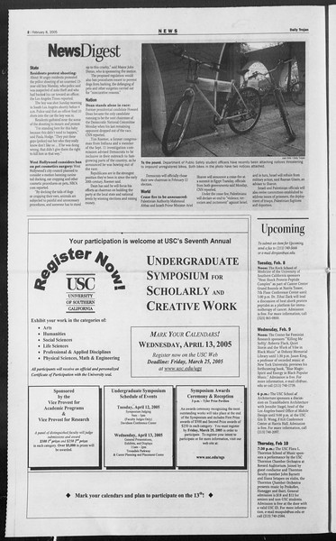 Daily Trojan, Vol. 154, No. 19, February 08, 2005