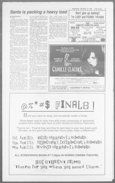 Daily Trojan, Vol. 110, No. 68, December 13, 1989