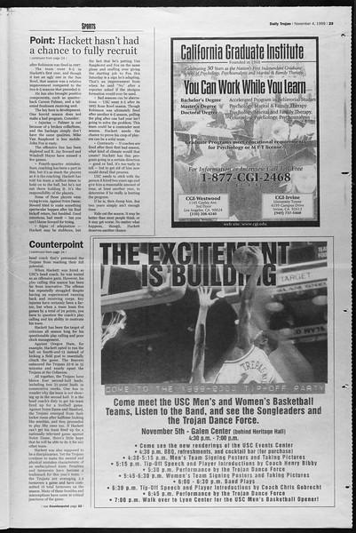 Daily Trojan, Vol. 138, No. 46, November 04, 1999