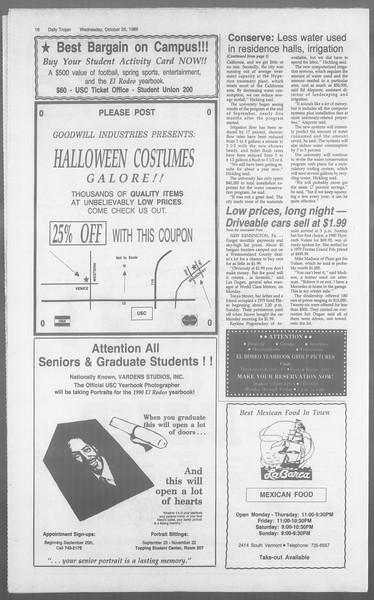 Daily Trojan, Vol. 110, No. 36, October 25, 1989