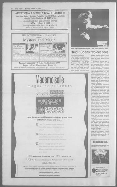Daily Trojan, Vol. 113, No. 34, October 22, 1990