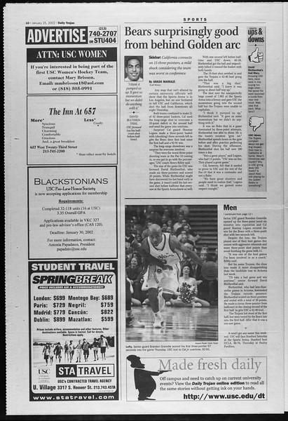 Daily Trojan, Vol. 145, No. 12, January 25, 2002