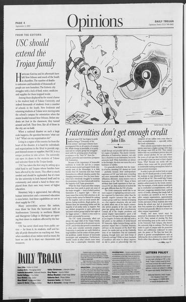 Daily Trojan, Vol. 156, No. 10, September 02, 2005