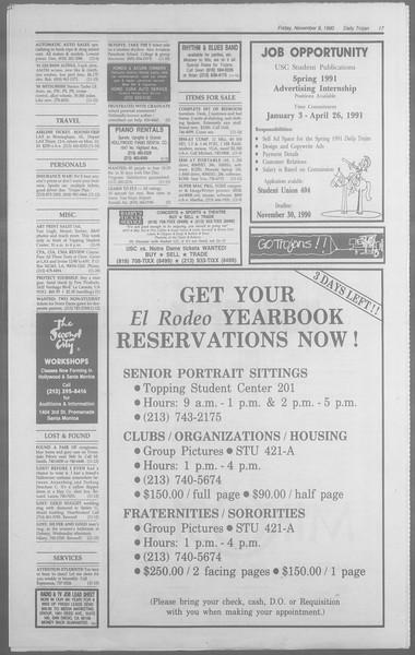 Daily Trojan, Vol. 113, No. 48, November 09, 1990