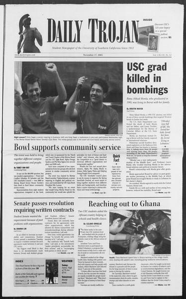Daily Trojan, Vol. 156, No. 61, November 17, 2005