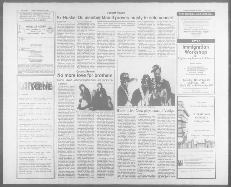 Daily Trojan, Vol. 113, No. 55, November 20, 1990