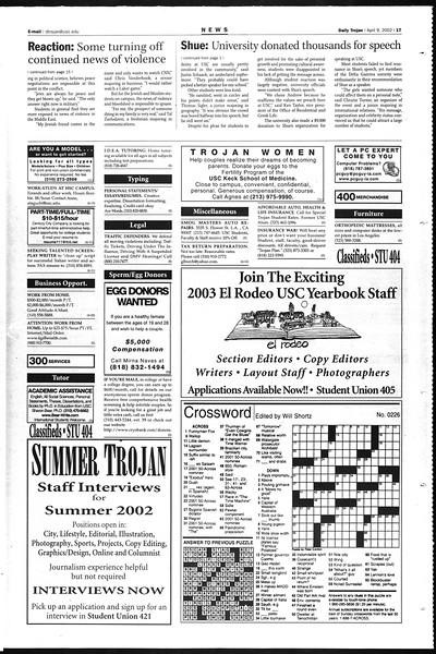 Daily Trojan, Vol. 145, No. 55, April 09, 2002